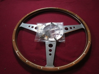"Classic 15"" Laminated Wood-Rimmed Steering Wheel, New"