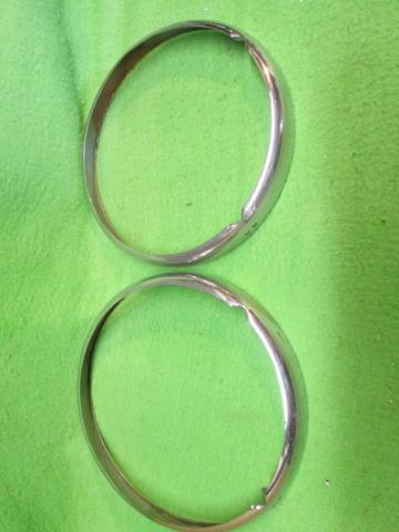 Slotted Headlamp Rim Pair, MGB, late style, Original head lamp, headlight, head light