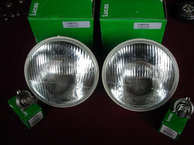Lucas H4 Headlamp Pair, New head lamp, headlight, head light