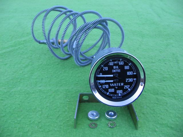 Smiths Oil & Water Dual Gauge; Austin-Healey, MGA, MGB; New Oil and water gauge