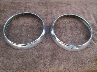 Headlamp Rim Pair, Volvo P1800, 1800S, 1800E, Original head lamp, headlight, head light