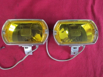 Lucas LR8 Square 8 Foglamp Pair, MG Midget, MGB; Rolls-Royce; Shelby Mustang; Triumph TR6, NOS fog lamp, foglight, fog light