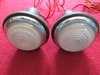 Lucas L488 Frosted Flat Glass Lamp Pair, NOS